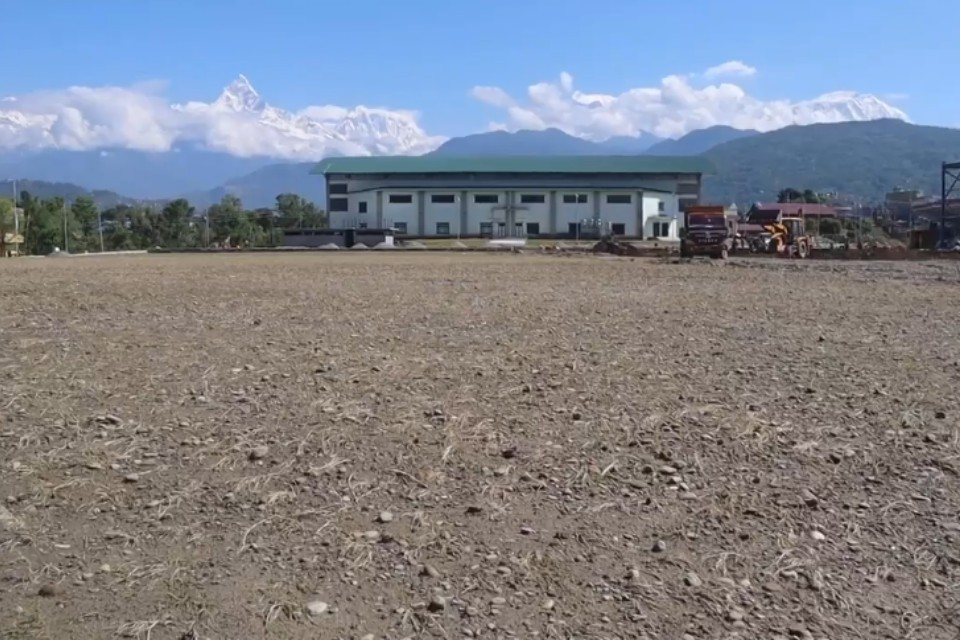 Construction Of Football Ground Adjacent To Pokhara Stadium In Final Phase